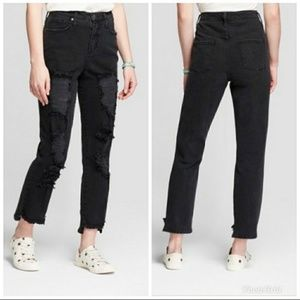 Black Distressed High Rise Mom Jeans